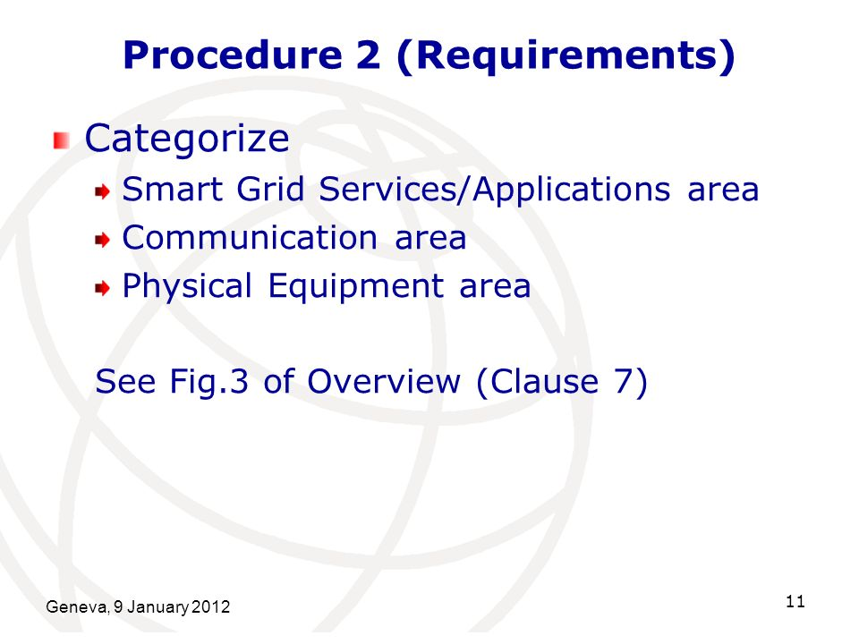 Geneva, 9 January 2012 11 Procedure 2 (Requirements) Categorize Smart Grid Services/Applications area Communication area Physical Equipment area See Fig.3 of Overview (Clause 7)