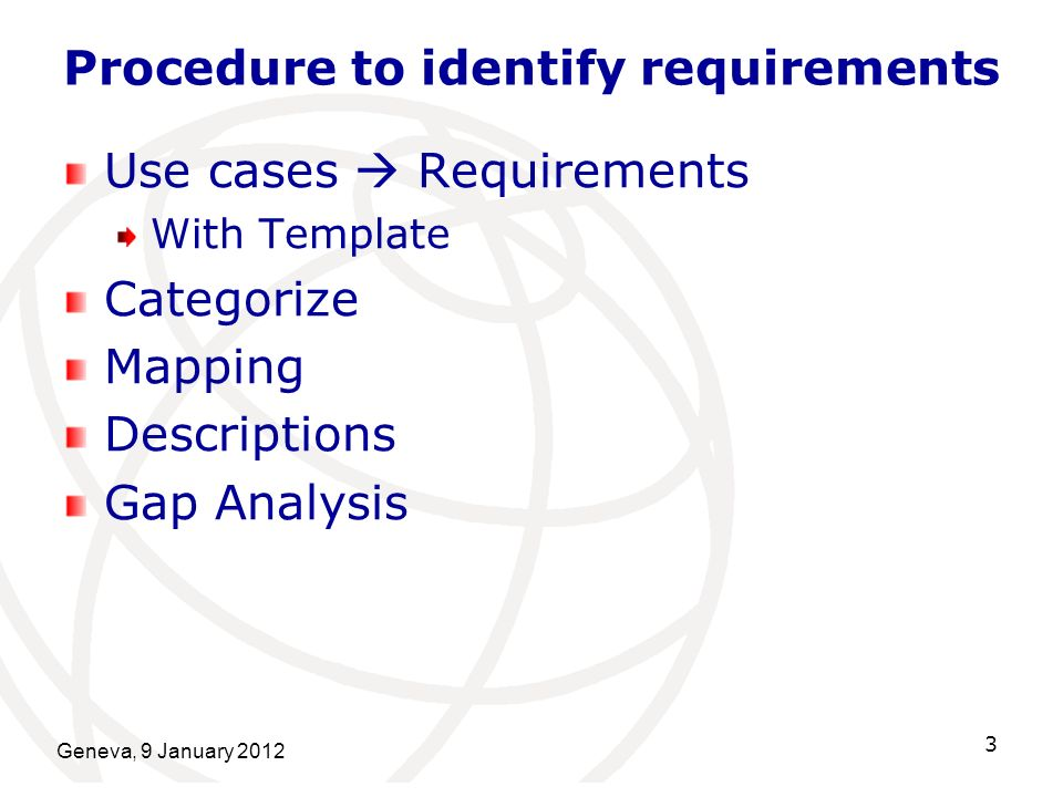 Geneva, 9 January 2012 4 Procedure 1 (Requirements) Use cases Requirements 83 use cases 174 requirements All the requirements are described with template.
