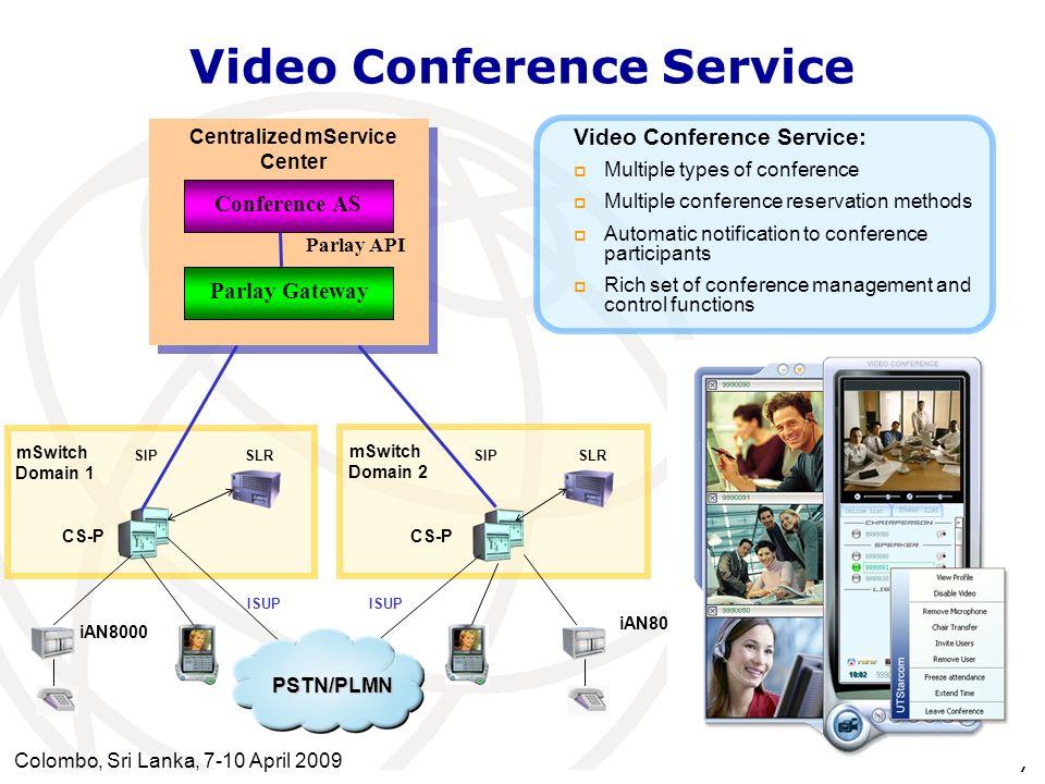 Colombo, Sri Lanka, 7-10 April 2009 7 Video Conference Service CS-P ISUP mSwitch Domain 1 SIP SLR Parlay API Conference AS CS-P mSwitch Domain 2 SIPSL