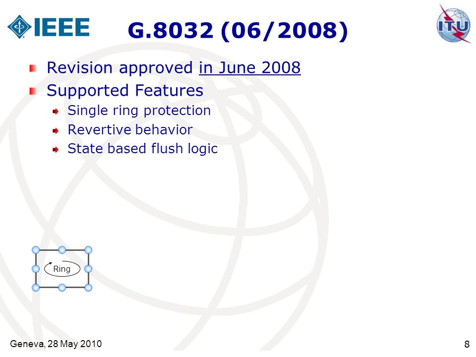 G.8032 (06/2008) Revision approved in June 2008 Supported Features Single ring protection Revertive behavior State based flush logic Ring Geneva, 28 M