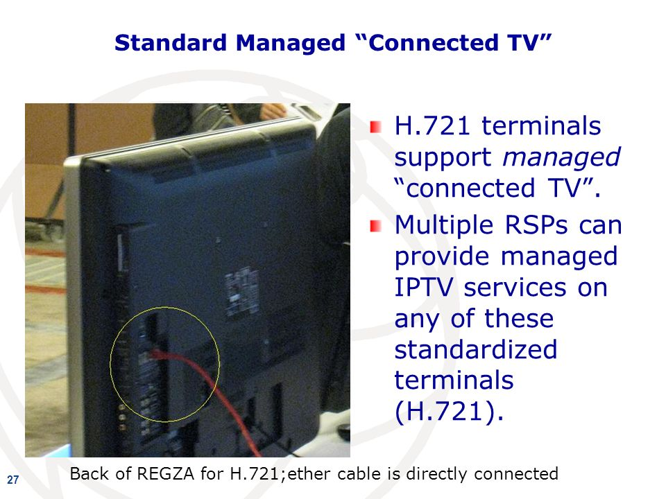 Standard Managed Connected TV H.721 terminals support managed connected TV.