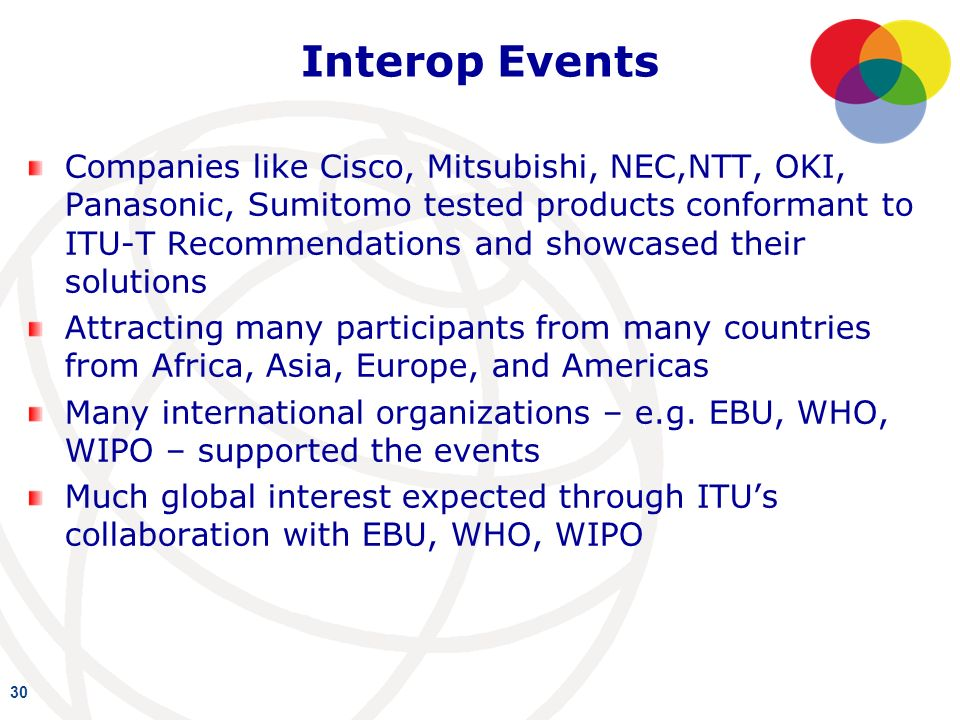 Interop Events Companies like Cisco, Mitsubishi, NEC,NTT, OKI, Panasonic, Sumitomo tested products conformant to ITU-T Recommendations and showcased their solutions Attracting many participants from many countries from Africa, Asia, Europe, and Americas Many international organizations – e.g.