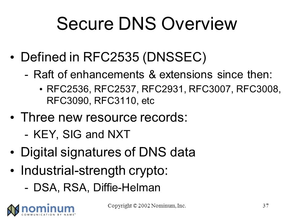 Copyright © 2002 Nominum, Inc.37 Secure DNS Overview Defined in RFC2535 (DNSSEC) -Raft of enhancements & extensions since then: RFC2536, RFC2537, RFC2931, RFC3007, RFC3008, RFC3090, RFC3110, etc Three new resource records: -KEY, SIG and NXT Digital signatures of DNS data Industrial-strength crypto: -DSA, RSA, Diffie-Helman
