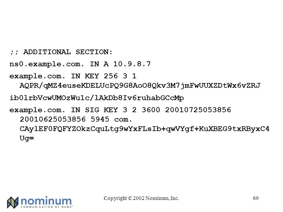 Copyright © 2002 Nominum, Inc.69 ;; ADDITIONAL SECTION: ns0.example.com.