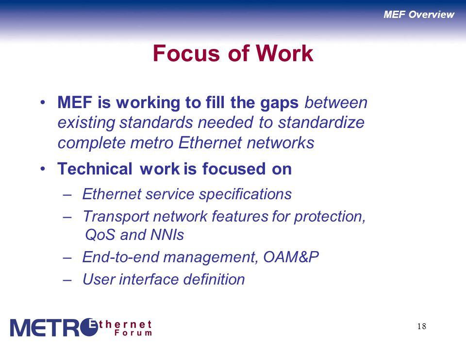 18 Focus of Work MEF is working to fill the gaps between existing standards needed to standardize complete metro Ethernet networks Technical work is focused on – Ethernet service specifications – Transport network features for protection, QoS and NNIs – End-to-end management, OAM&P – User interface definition MEF Overview