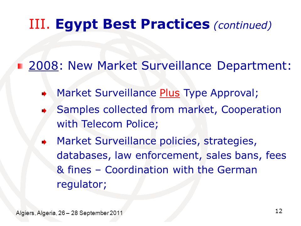 Algiers, Algeria, 26 – 28 September 2011 12 III. Egypt Best Practices (continued) 2008: New Market Surveillance Department: Market Surveillance Plus T