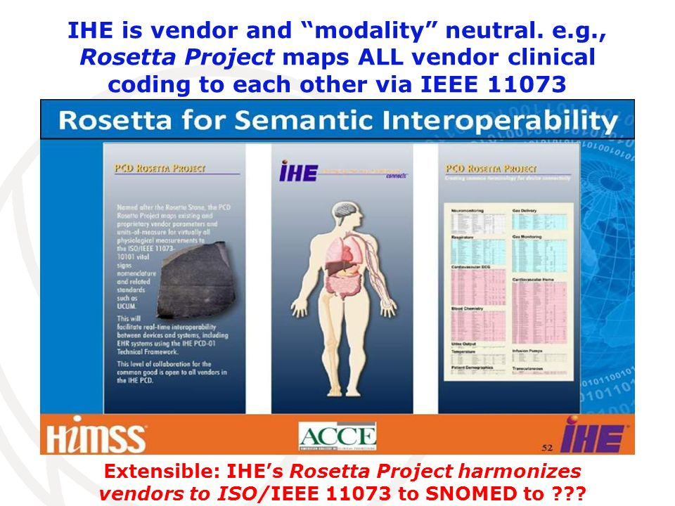 IHE is vendor and modality neutral. e.g., Rosetta Project maps ALL vendor clinical coding to each other via IEEE 11073 Extensible: IHEs Rosetta Projec