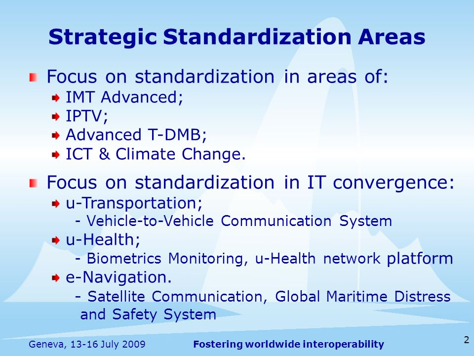 Fostering worldwide interoperability Highlights of Current Status - 4G(IMT-Advanced) Endorsed the submission on LTE-Advanced as a candidate of IMT-Advanced to ITU-R WP5D #5 Standardizing interworking between WiBro and UMTS and WiBro Femto cell etc.