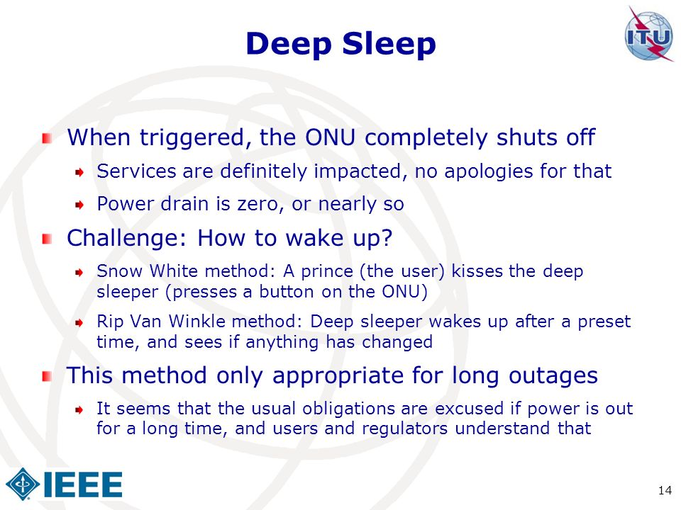 Deep Sleep When triggered, the ONU completely shuts off Services are definitely impacted, no apologies for that Power drain is zero, or nearly so Chal