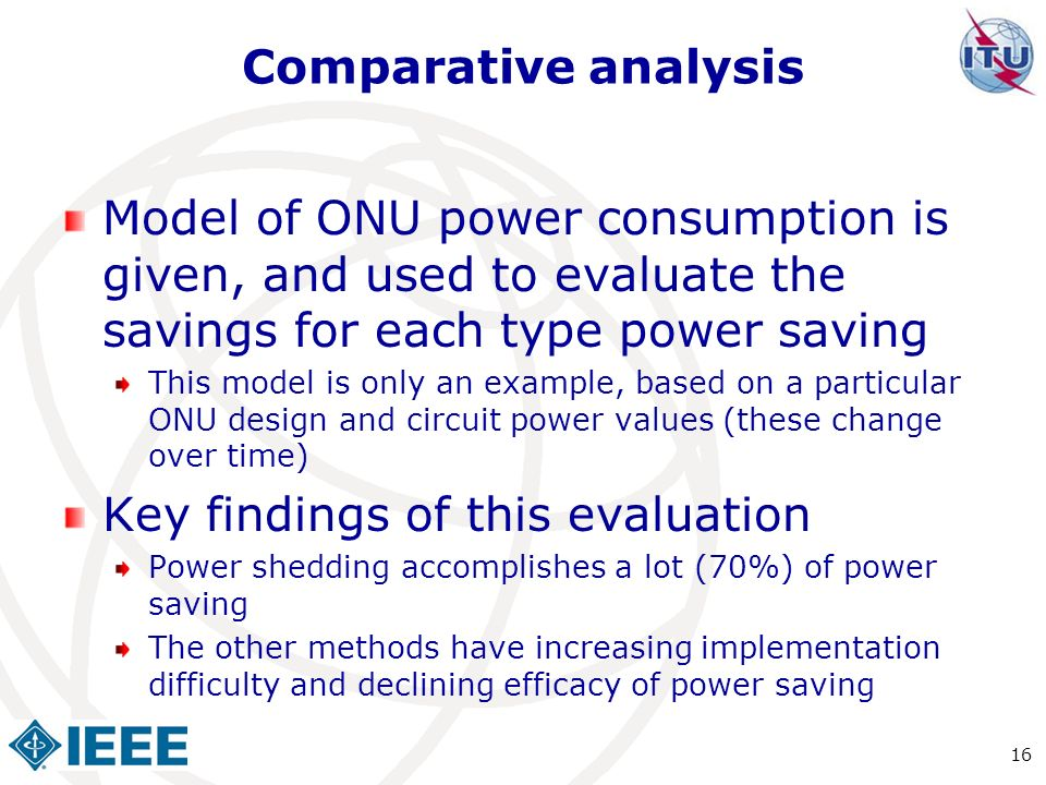 Comparative analysis Model of ONU power consumption is given, and used to evaluate the savings for each type power saving This model is only an exampl