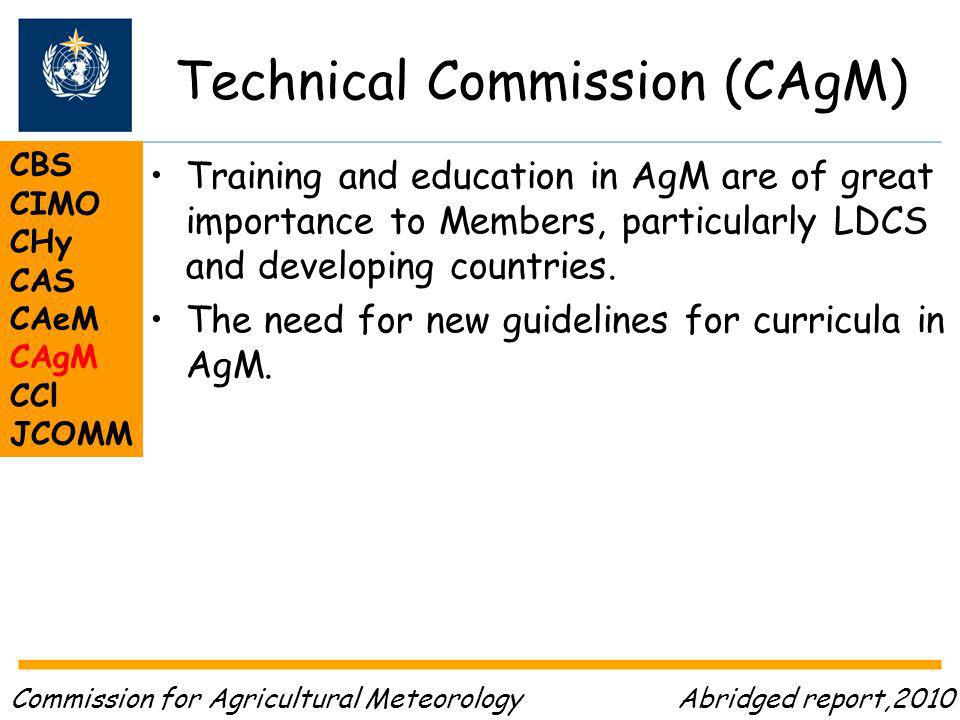 Technical Commission (CAgM) CBS CIMO CHy CAS CAeM CAgM CCl JCOMM Training and education in AgM are of great importance to Members, particularly LDCS and developing countries.
