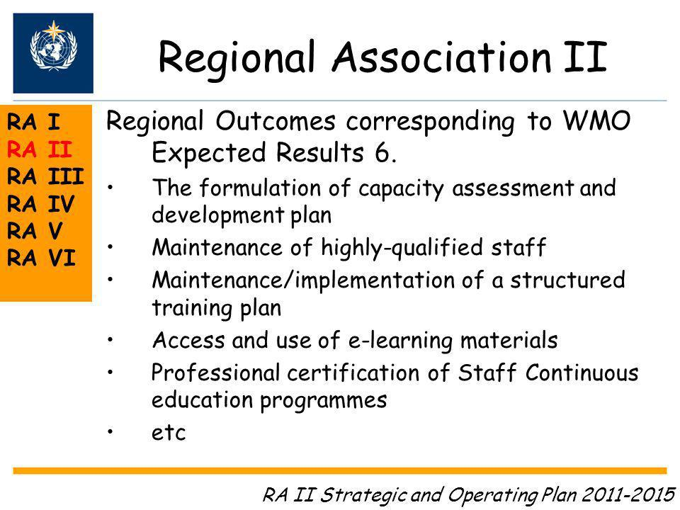 Regional Association II RA I RA II RA III RA IV RA V RA VI Regional Outcomes corresponding to WMO Expected Results 6.