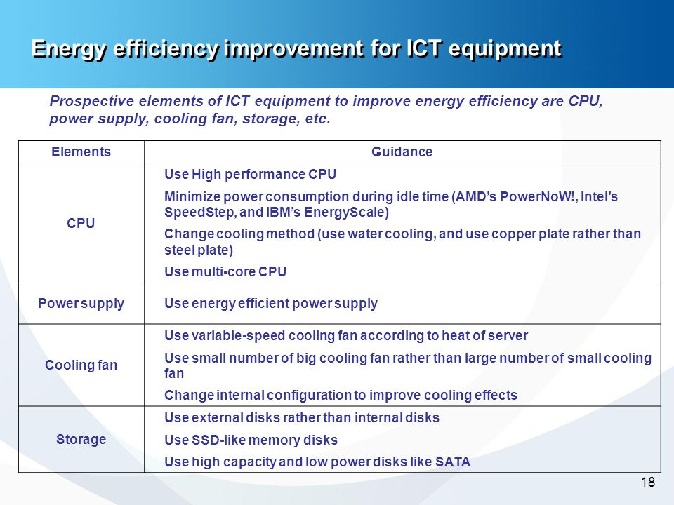 -18- 18 Energy efficiency improvement for ICT equipment Prospective elements of ICT equipment to improve energy efficiency are CPU, power supply, cool