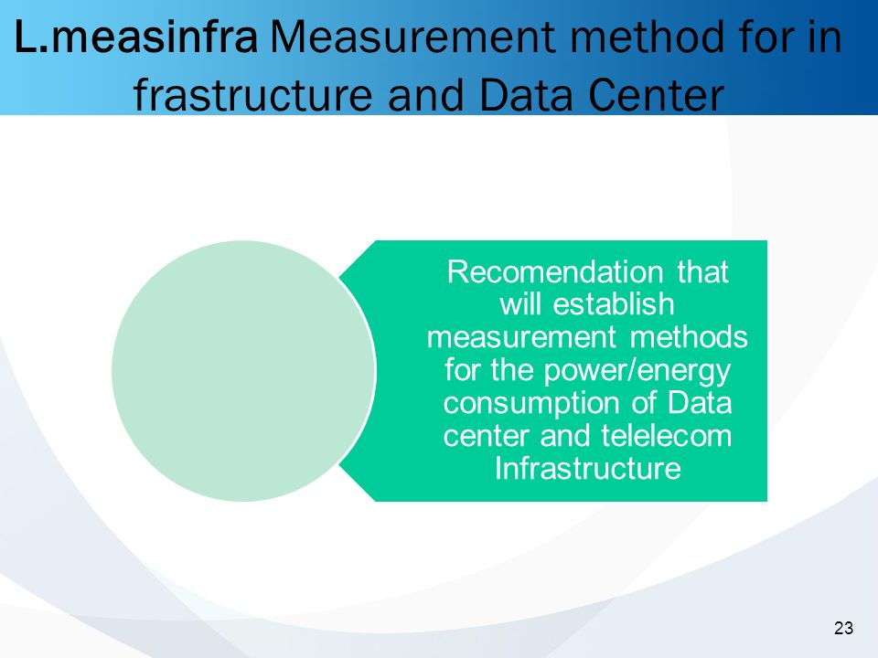 -23- 23 L.measinfra Measurement method for in frastructure and Data Center Recomendation that will establish measurement methods for the power/energy