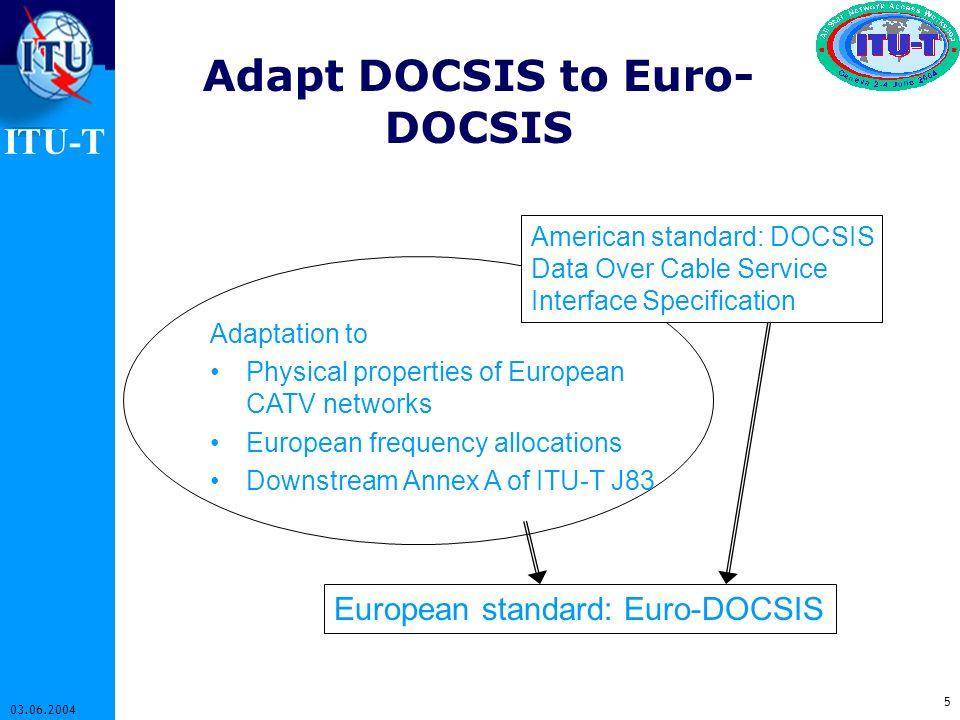 ITU-T 5 03.06.2004 Adapt DOCSIS to Euro- DOCSIS European standard: Euro-DOCSIS Adaptation to Physical properties of European CATV networks European fr