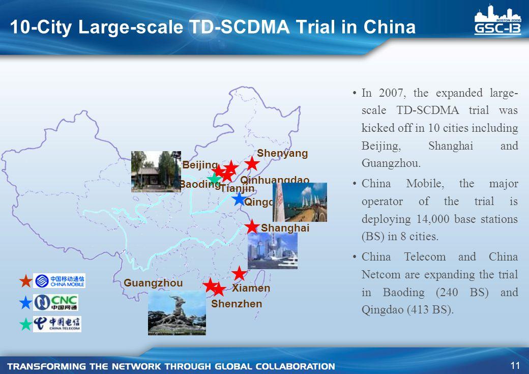 11 10-City Large-scale TD-SCDMA Trial in China Beijing Tianjin Baoding Qinhuangdao Shenyang Qingdao Shanghai Xiamen Guangzhou Shenzhen In 2007, the expanded large- scale TD-SCDMA trial was kicked off in 10 cities including Beijing, Shanghai and Guangzhou.