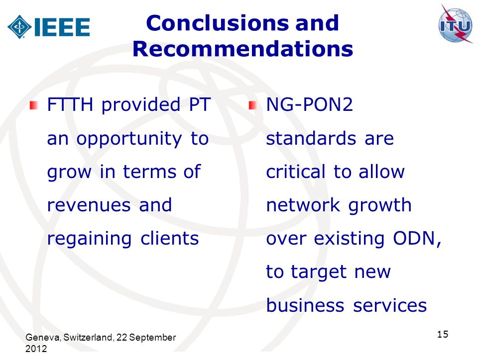 Conclusions and Recommendations FTTH provided PT an opportunity to grow in terms of revenues and regaining clients NG-PON2 standards are critical to a