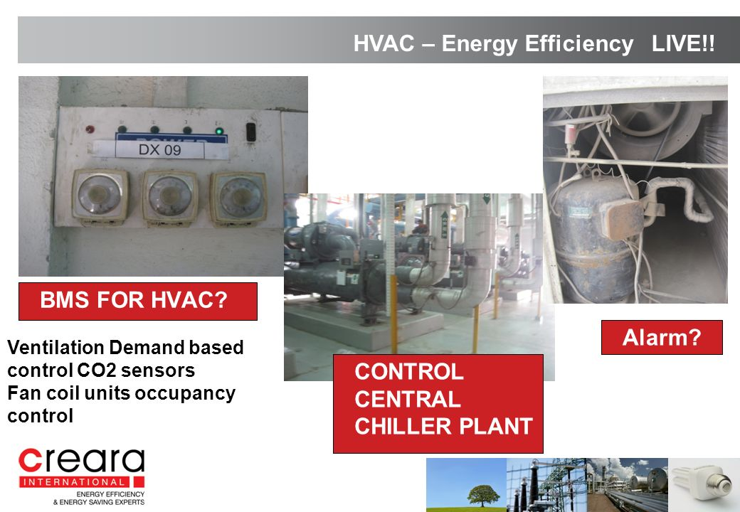 BMS FOR HVAC? Alarm? HVAC – Energy Efficiency LIVE!! Ventilation Demand based control CO2 sensors Fan coil units occupancy control CONTROL CENTRAL CHI