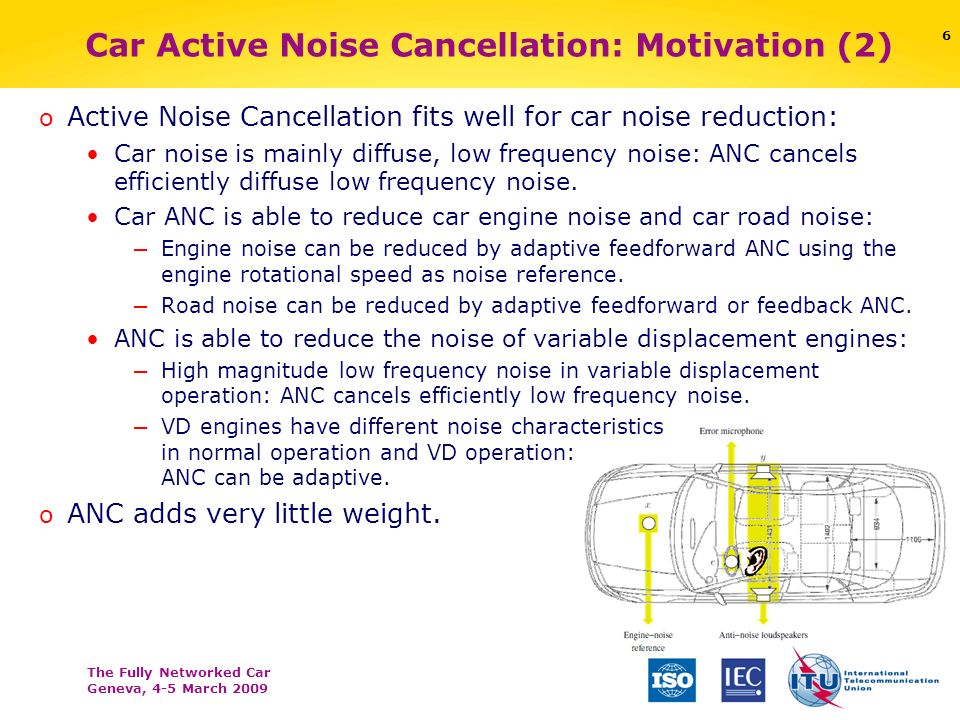 The Fully Networked Car Geneva, 4-5 March 2009 6 Car Active Noise Cancellation: Motivation (2) o Active Noise Cancellation fits well for car noise red