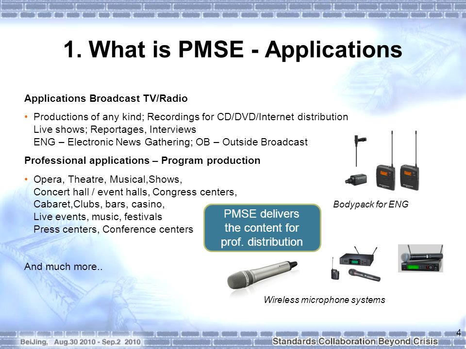 1. What is PMSE - Applications Applications Broadcast TV/Radio Productions of any kind; Recordings for CD/DVD/Internet distribution Live shows; Report