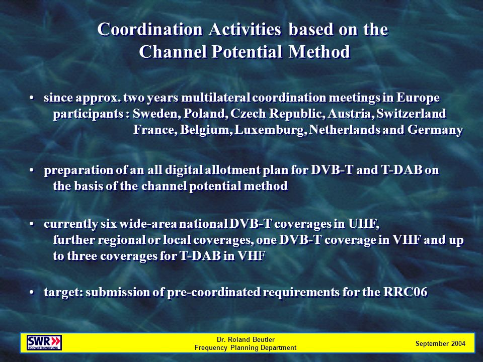 Dr. Roland Beutler Frequency Planning Department September 2004 Coordination Activities based on the Channel Potential Method Coordination Activities