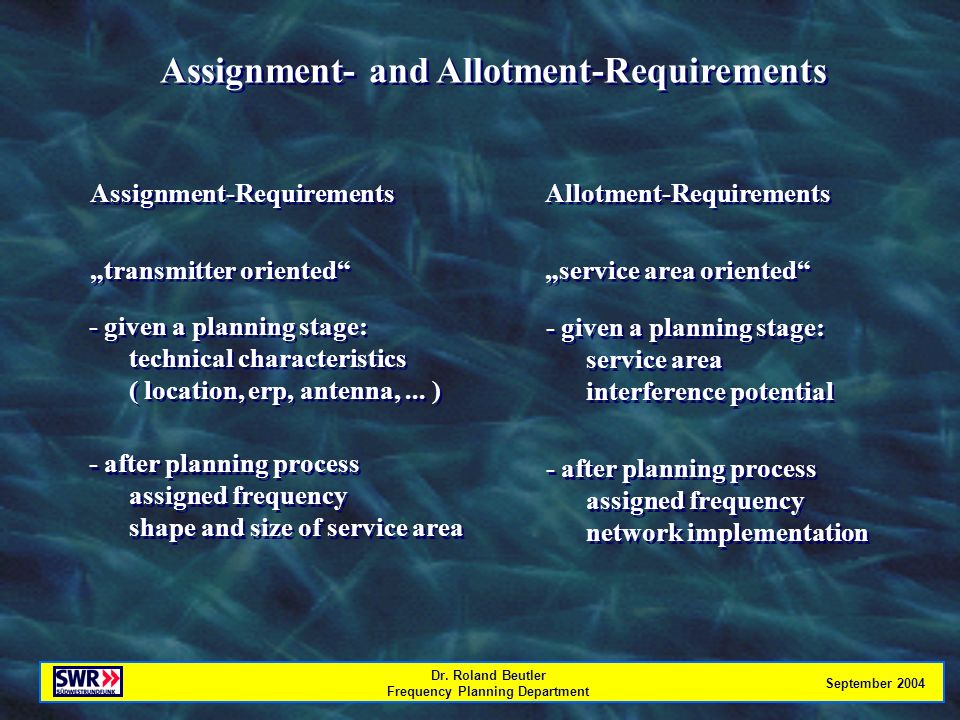 Dr. Roland Beutler Frequency Planning Department September 2004 Assignment- and Allotment-Requirements Assignment-Requirements transmitter oriented As