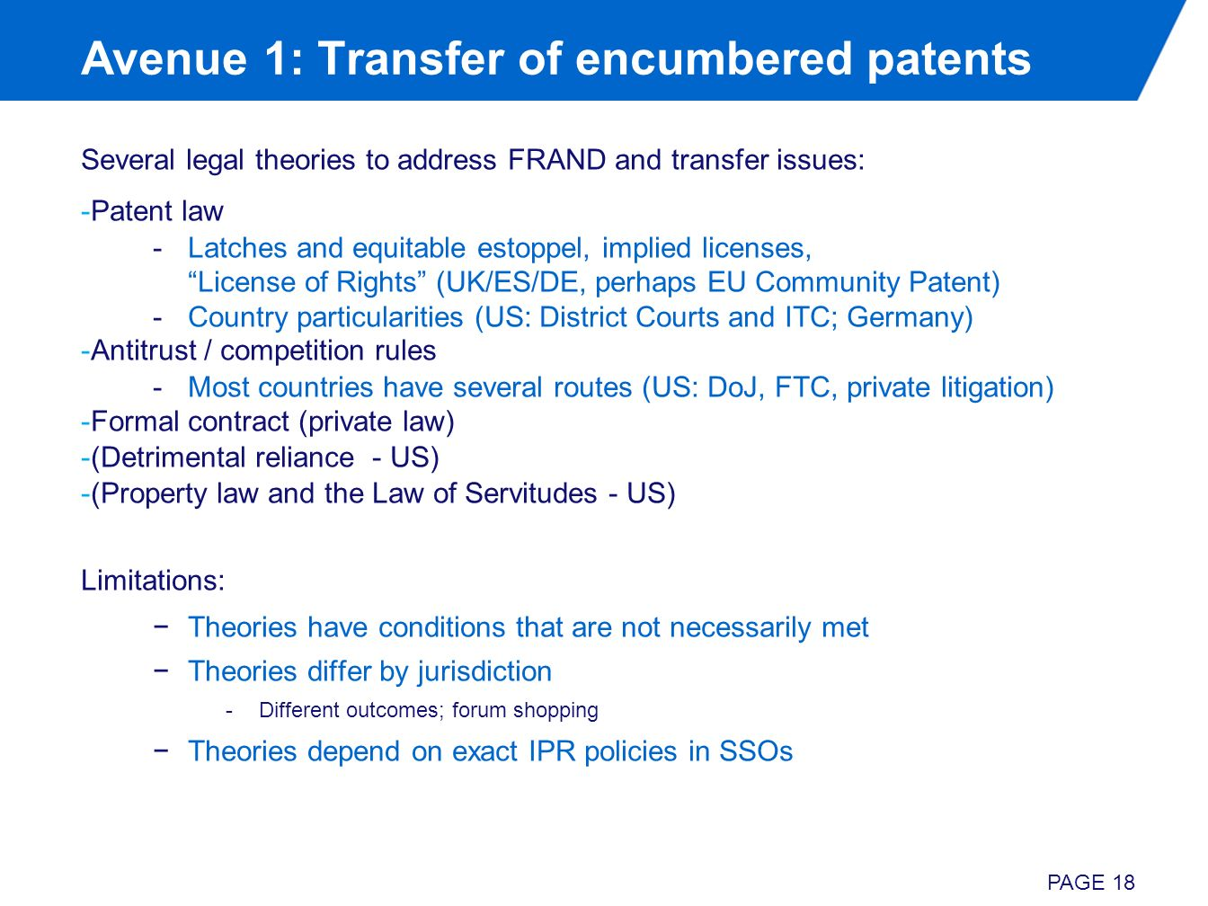 Avenue 1: Transfer of encumbered patents Several legal theories to address FRAND and transfer issues: -Patent law -Latches and equitable estoppel, imp