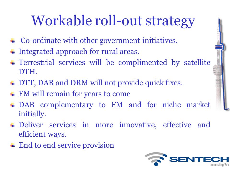 Workable roll-out strategy Co-ordinate with other government initiatives. Integrated approach for rural areas. Terrestrial services will be compliment