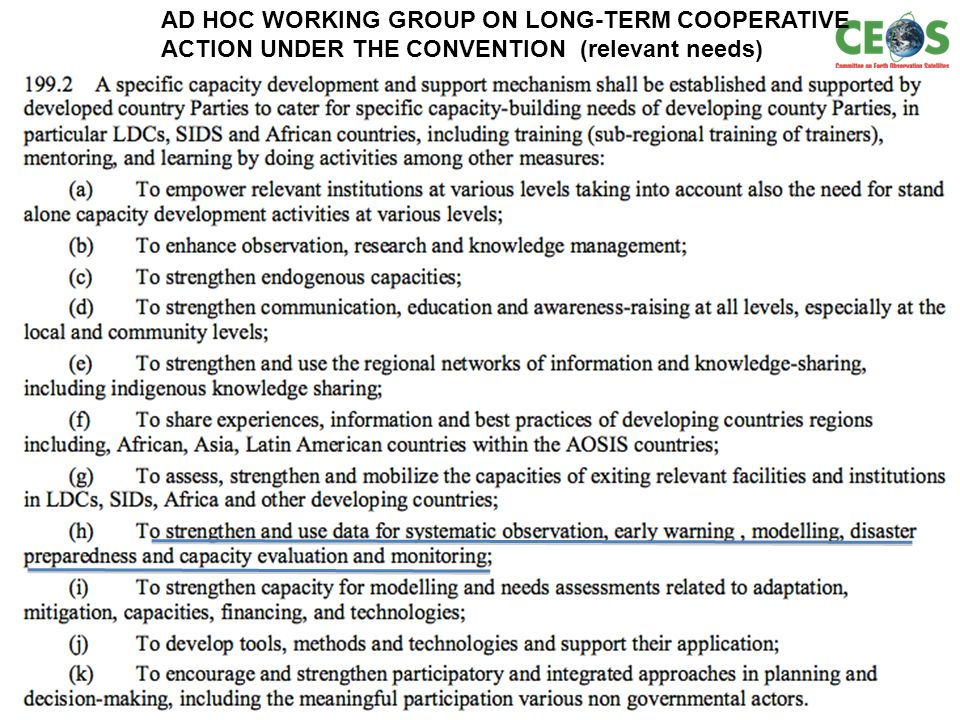 12 AD HOC WORKING GROUP ON LONG-TERM COOPERATIVE ACTION UNDER THE CONVENTION (relevant needs)