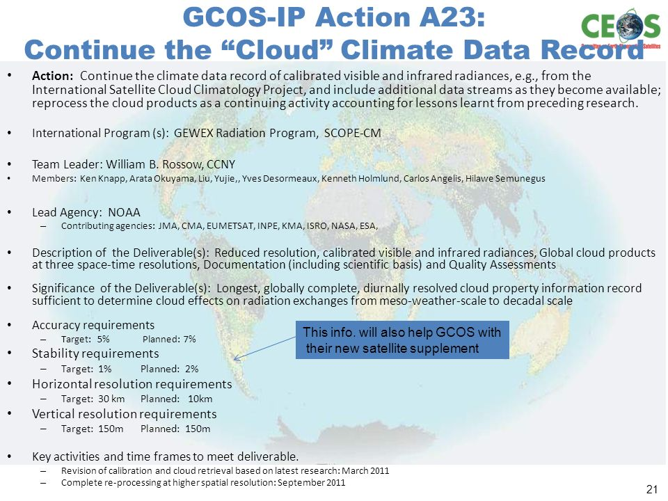 GCOS-IP Action A23: Continue the Cloud Climate Data Record Action: Continue the climate data record of calibrated visible and infrared radiances, e.g., from the International Satellite Cloud Climatology Project, and include additional data streams as they become available; reprocess the cloud products as a continuing activity accounting for lessons learnt from preceding research.