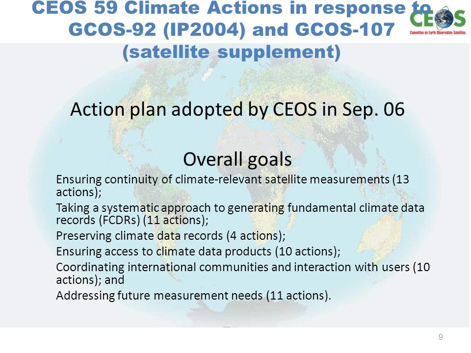 Approach Identify domain leads (atmos, ocean, land) Coordinate with CEOS working groups, CEOS virtual constellations, and Climate related external groups (e.g.