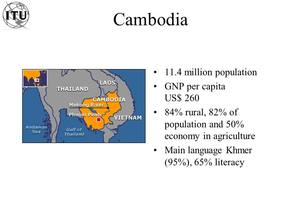 Cambodia 11.4 million population GNP per capita US$ 260 84% rural, 82% of population and 50% economy in agriculture Main language Khmer (95%), 65% literacy