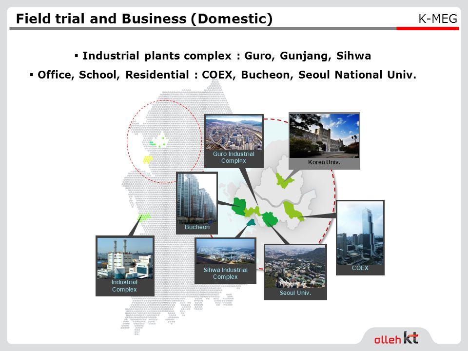 Gunjang Industrial Complex Korea Univ. Bucheon Sihwa Industrial Complex Seoul Univ. Guro Industrial Complex COEX Field trial and Business (Domestic) I