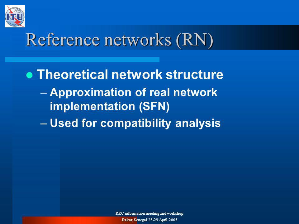 RRC information meeting and workshop Dakar, Senegal April 2005 Reference networks (RN) Theoretical network structure –Approximation of real network implementation (SFN) –Used for compatibility analysis