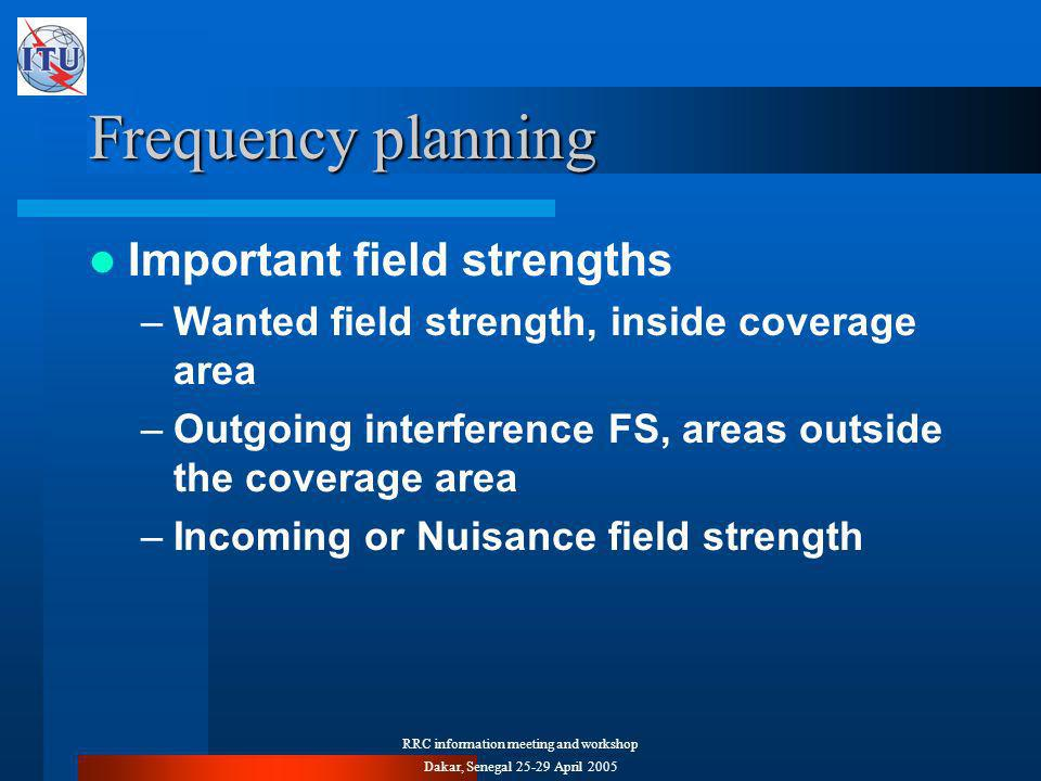 RRC information meeting and workshop Dakar, Senegal April 2005 Frequency planning Important field strengths –Wanted field strength, inside coverage area –Outgoing interference FS, areas outside the coverage area –Incoming or Nuisance field strength
