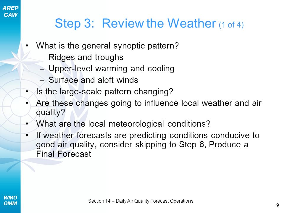 AREP GAW Section 14 – Daily Air Quality Forecast Operations 10 Step 3: Review the Weather (2 of 4) Day 0: August 22, 2005 1200 GMT Day 1: August 23, 2005 1200 GMT Day 2: August 24, 2005 1200 GMT 500-mb heights Surface analysis * * * * * *