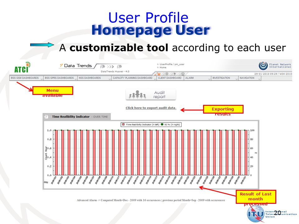 20 User Profile A customizable tool according to each user Homepage User Menu available Exporting results Result of Last month processed