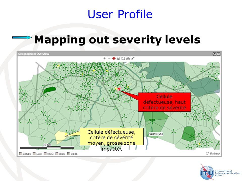27 User Profile Mapping out severity levels Cellule défectueuse, haut critère de sévérité Cellule défectueuse, critère de sévérité moyen, grosse zone impactée