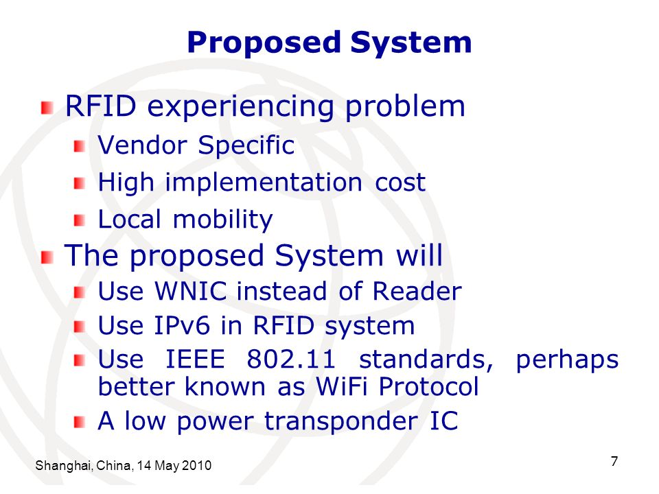 Shanghai, China, 14 May 2010 7 Proposed System RFID experiencing problem Vendor Specific High implementation cost Local mobility The proposed System w