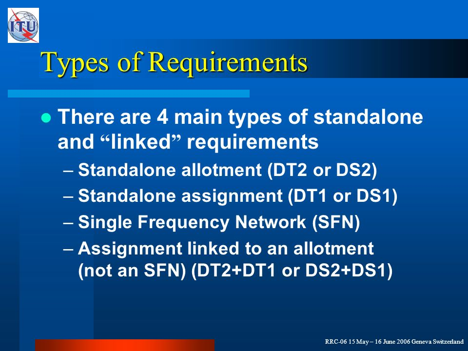 RRC-06 15 May – 16 June 2006 Geneva Switzerland Types of Requirements There are 4 main types of standalone and linked requirements –Standalone allotment (DT2 or DS2) –Standalone assignment (DT1 or DS1) –Single Frequency Network (SFN) –Assignment linked to an allotment (not an SFN) (DT2+DT1 or DS2+DS1)