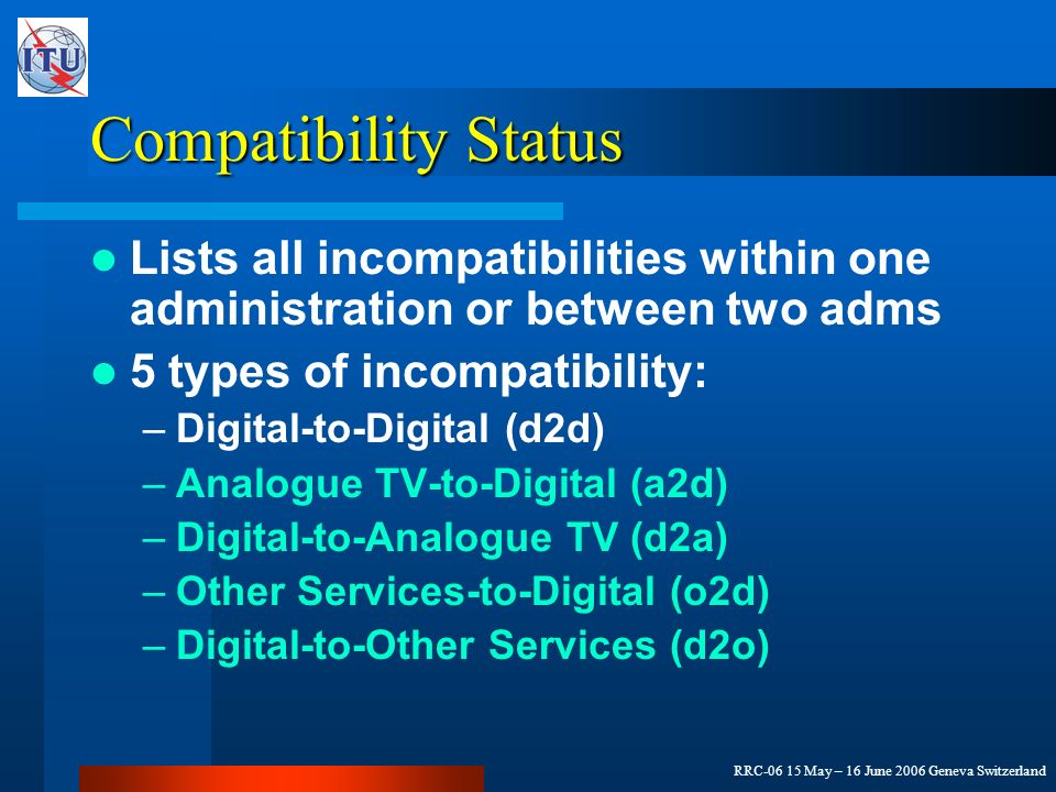 RRC-06 15 May – 16 June 2006 Geneva Switzerland Compatibility Status Lists all incompatibilities within one administration or between two adms 5 types of incompatibility: –Digital-to-Digital (d2d) –Analogue TV-to-Digital (a2d) –Digital-to-Analogue TV (d2a) –Other Services-to-Digital (o2d) –Digital-to-Other Services (d2o)