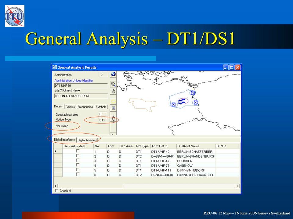 RRC-06 15 May – 16 June 2006 Geneva Switzerland General Analysis – DT1/DS1