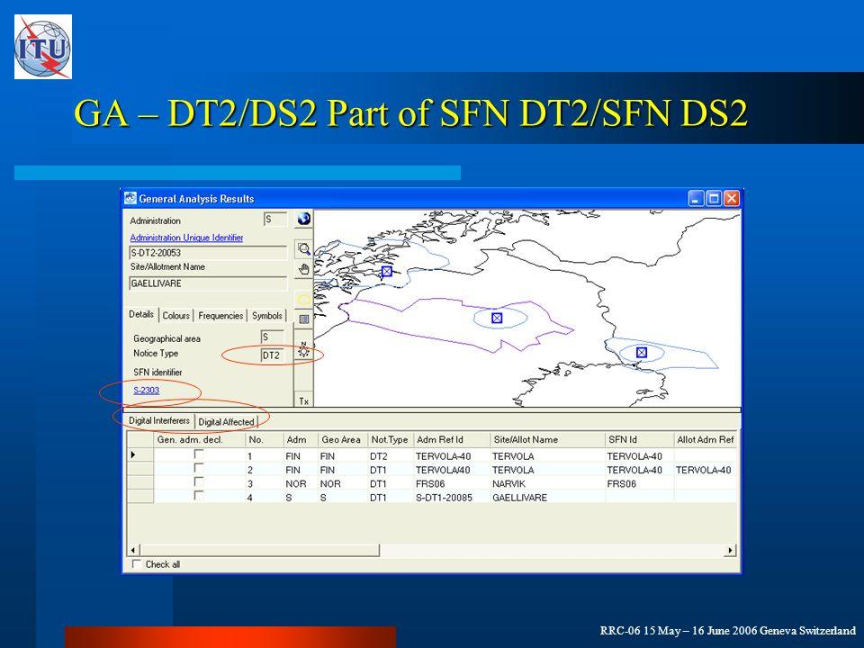 RRC-06 15 May – 16 June 2006 Geneva Switzerland GA – DT2/DS2 Part of SFN DT2/SFN DS2