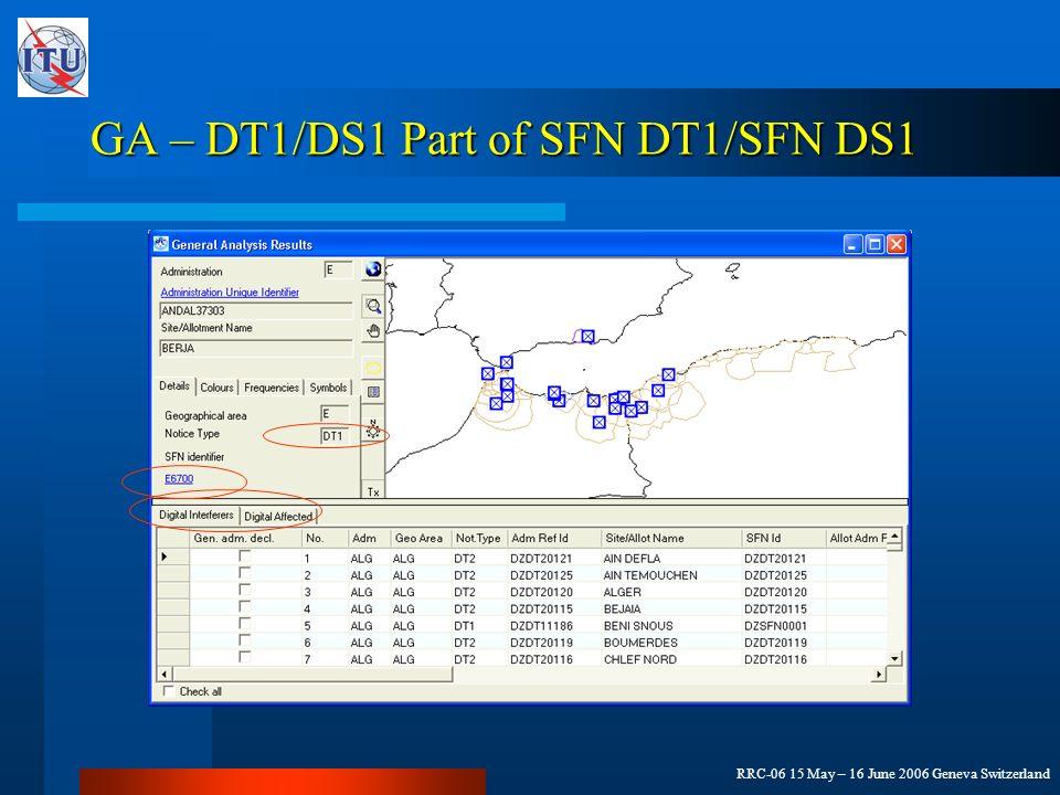 RRC-06 15 May – 16 June 2006 Geneva Switzerland GA – DT1/DS1 Part of SFN DT1/SFN DS1