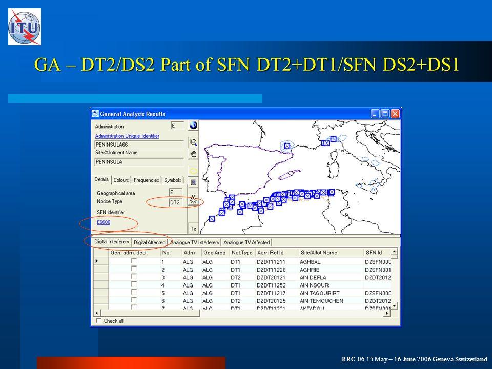 RRC-06 15 May – 16 June 2006 Geneva Switzerland GA – DT2/DS2 Part of SFN DT2+DT1/SFN DS2+DS1