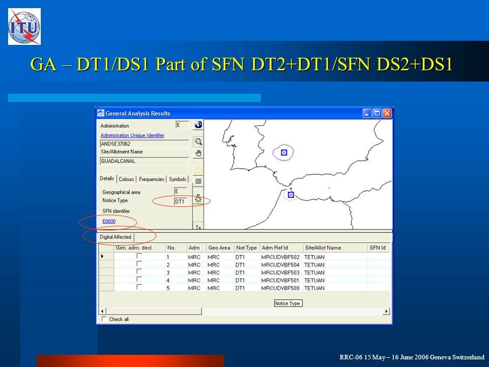 RRC-06 15 May – 16 June 2006 Geneva Switzerland GA – DT1/DS1 Part of SFN DT2+DT1/SFN DS2+DS1