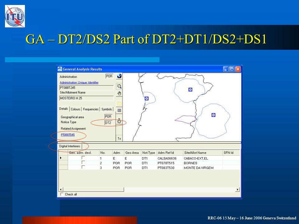 RRC-06 15 May – 16 June 2006 Geneva Switzerland GA – DT2/DS2 Part of DT2+DT1/DS2+DS1