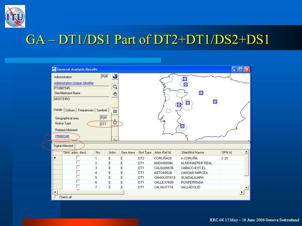 RRC-06 15 May – 16 June 2006 Geneva Switzerland GA – DT1/DS1 Part of DT2+DT1/DS2+DS1