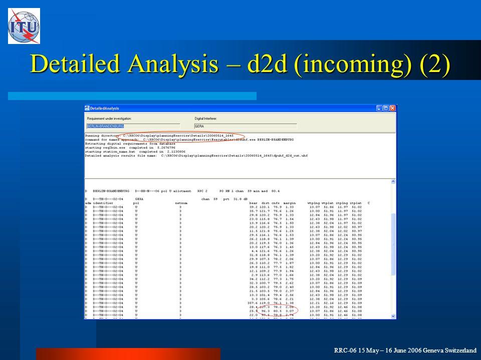 RRC-06 15 May – 16 June 2006 Geneva Switzerland Detailed Analysis – d2d (incoming) (2)