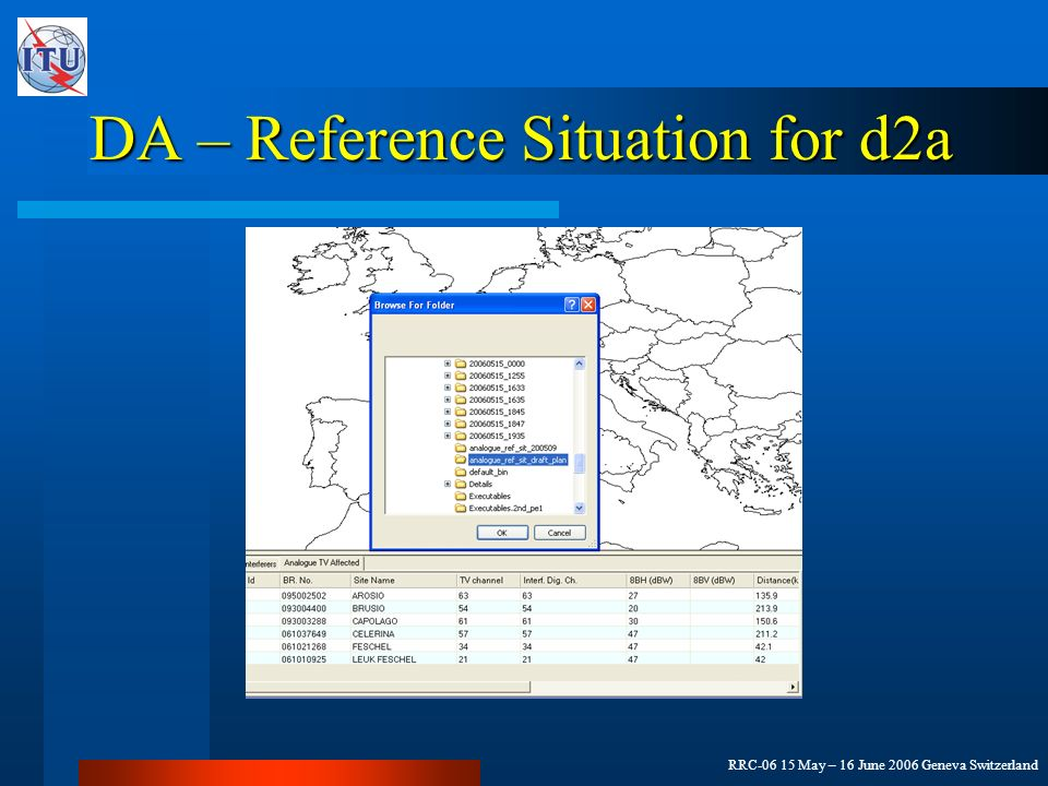 RRC-06 15 May – 16 June 2006 Geneva Switzerland DA – Reference Situation for d2a